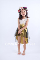 summer,  high quality baby girl lace irregular dress, teenage asymmetrical dress, princess flower unique dress, free shipping