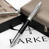 Parker fountain pen black white clip lea ink pen 18k fountain pens handmade