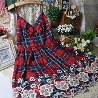 free shipping 2013 bohemia rustic embroidery flower plaid beach spaghetti strap short one-piece dress