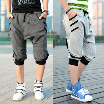 dance pants Classic double ! three-dimensional breasted ribbon casual harem pants male sports pants Pyjama Pants