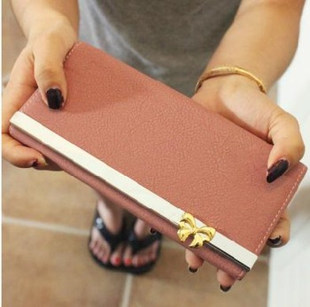 2013 nubuck leather bow long design women's wallet hasp women's flip type