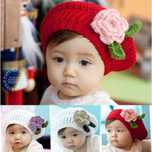 Cute Handmade Crochet Hat Baby Berets With Flower,Infant Wool Knitted Hats,Kids Beanie Baby Cap,Chidren Winter Hats 10pcs/lot(China (Mainland))