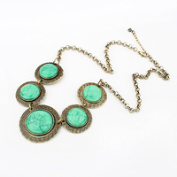 Min $20 (can mix) free shipping Female fashion vintage circle green necklace pendant
