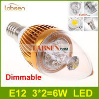 Wholesale-  Free Shipping DHL High Power E12 E14 6W 9W Dimmable Led Candle Light Bulb Lamp Warm White 3000K Led Lights 110V 230V