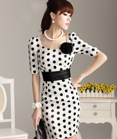 Free Shipping Summer elegant slim black polka dot one-piece dress short-sleeve slim hip belt corsage ol professional dress