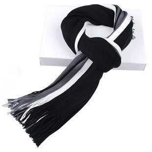 Hot Sale Fashion Men Scarf Black+White+Grey Long Scarf Shawl