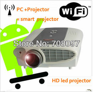 Enjoy Large screen size over 100'' movie, high performance android smart HD LED home video projector,Free shipping(China (Mainland))