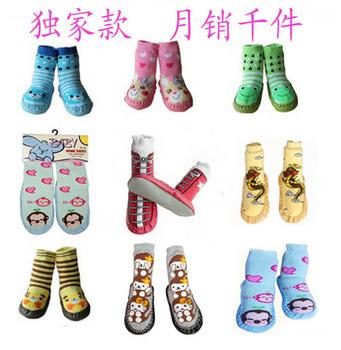 Spring and autumn baby floor socks thickening loop pile non-slip socks children socks knee-high male female child baby socks