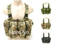 Good Outdoor Men's Tactical 6 Pouches Magazine Carry Chest Rig Vest 6 Colors