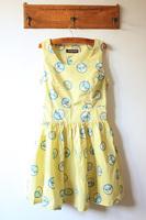 Fabric moon side zipper big skirt slim waist tank dress one-piece dress