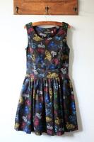 Fabric game controller side zipper big skirt slim waist tank dress one-piece dress