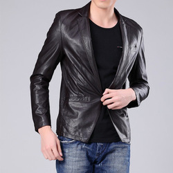 Free shipping A new winter menswear buckle concise fashion leather bomber jackets in han edition(China (Mainland))