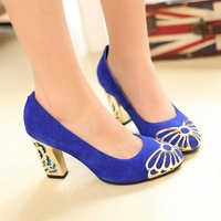 2013 women shoes genuine leather pumps flower heel sexy shoes high heels nice shoes thick heel U.S Size 4-7.5 Free shipping+gift
