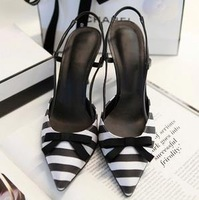 Free shipping 2013 fashion Pointed toe cutout color block decoration flower thin high-heeled shoes sandals female fumeida stripe