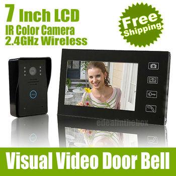 "7"" LCD Wireless Video Door Phone Doorbell Intercom System Night Vision Waterproof Camera"