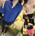 New Stand Collar Long Sleeve Button Chiffon Sheer Womens shirt Tops Blouse