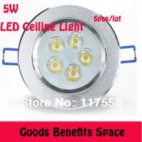 Free Shipping +5Pcs Wholesale 5W LED Ceiling Light High Power Down light Recessed Spotlight AC85~265V white Warm white