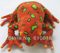 Free Shipping Factory Supply High Simulation Red Frog Plush Toys Creative Children Birthday Gift Car Home Decor