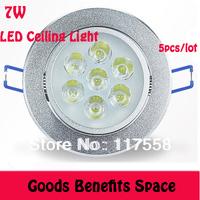Free Shipping +5Pcs Wholesale 7W LED Ceiling Light High power Down light Recessed Spotlight AC85~265V white Warm white