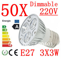 50X  power CREE E27 3x3W 9W 220V Dimmable Light lamp Bulb LED Downlight Led Bulb Warm/Pure/Cool White free shipping