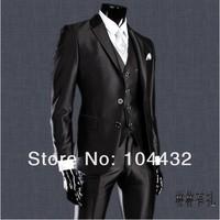 Men`s  Slim suits shiny Groom groomsmen dress  black color (jacket + vest + pant+tie) size:XS S M L XL XXL XXL free shipping