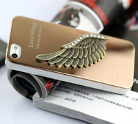 Free shipping!for iPhone 5 5g Luxury Metal fashion love Aluminum New Angel wing Cool Hot sale 3D metal Back Case Cover