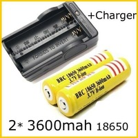 Free Shipping Wholesale 2 X Lithium Ion 3600 mAh 18650 Rechargeable 18650 Batteries + battery Charger