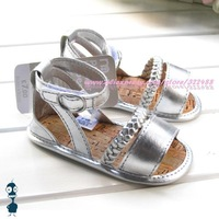 New fashion baby girls silver sandals prewalker toddler shoes soft sole non-slip first walkers shoes free shipping x7