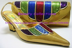 FREE SHIPPING!New arrival fashion matching shoe and bag set Size38-43 gold EVS 171 for retail and wholesale(China (Mainland))