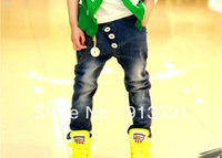2013 spring new children jeans fashion personalized lanyards boys fashion pants, free shipping