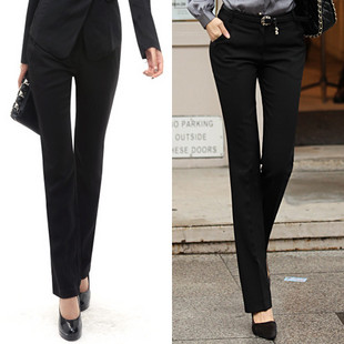 Spring and summer women&#39;s western-style trousers slim easy care ol straight pants work wear long pants suit overalls(China (Mainland))