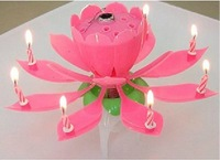 hot!5pcs Non Smoky Lotus Music Flower Candle For Birthday Party Blossom Music Sparkling Flower Candle China Post Free Shipping