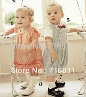 3pcs- Baby girls' Summer Pink Hollow Flower One Piece Dresses, kids children wear, 116