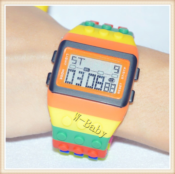 1pcs/lot,2013 New Hot sale LED rainbow watch lovers couples watch Nice Gift wrist electron watch(China (Mainland))