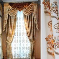 Wide quality handmade embroidery flower silk curtain fabric