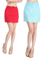 Free Shipping  Spring and summer Small fresh All-match fluid woman A-line Knee -Length Short Skirt Bust skirt basic  Blue & Red