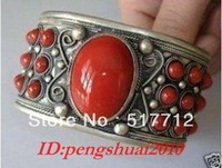 FREE p&p**********Exquisite Tibetan Jewelry Tibet silver inlay red Coral men's cuff bracelet