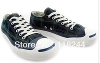 Free shippng 2013      Open smile Blue Plaid low-top canvas shoes