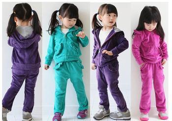Girl velvet 3pcs clothing sets hoodies + pant children sport suits 3 colors high quality A64