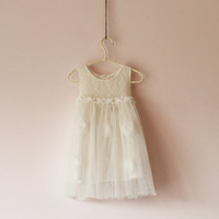 Children's clothing lace tank dress baby one-piece dress female child rose yarn tulle dress beautiful princess dress