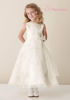 Modern A Line Jewel Tea Length Satin/Tulle/Organza Flower Girl Dress