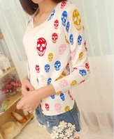 New women cardigan full sleeve colorful skull  printing cardigan sweater 2013 fashion knitted blouse sweater