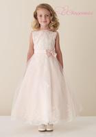 Luxurious A Line Jewel Tea Length Tulle/Satin Flower Girl Dress Lace Dress