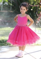 Hot Selling Ball Gown Sweetheart Tea Length Tulle/ Satin Flower Girl Dress Style Bridal Wedding Gown