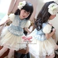 2013 female child short-sleeve puff sleeve small gentlewomen lace gauze white denim one-piece dress princess dress