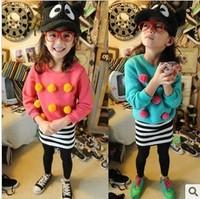 2012 autumn and winter clothing girl children's wool cartoon plus velvet candy color block sweatshirt pullover