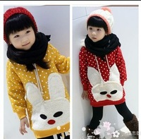 Female child autumn and winter 2012 cartoon rabbit dot thermal plus velvet with a long-sleeve hood sweatshirt