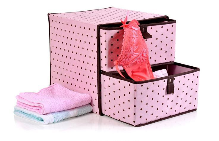 Free Shipping + Ladies the wind pink wave point multifunction double drawer storage box \ Organize storage box | | BLUE CAST(China (Mainland))