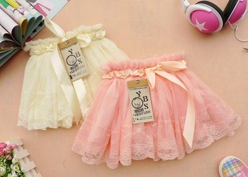 2013 summer  baby girl lace silk bow  ball grown  skirt  fit 3-7 years olds