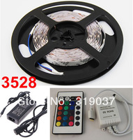 Holiday sale 3528 60leds/m waterproof RGB led strip with IR controller Warm white / blue / red led strip Free shipping